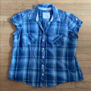 Sonoma Style Blue Plaid Cap Sleeve Shirt XL